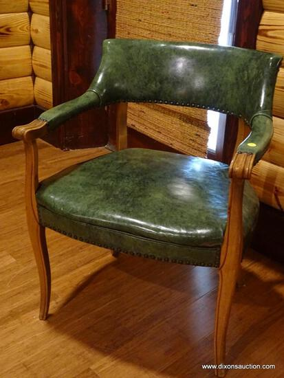 (BDEN) VINTAGE GREEN LEATHER CLUB CHAIR; MARBLE GREEN LEATHER WITH NAILHEAD TRIM. MEASURES 2' X 1'