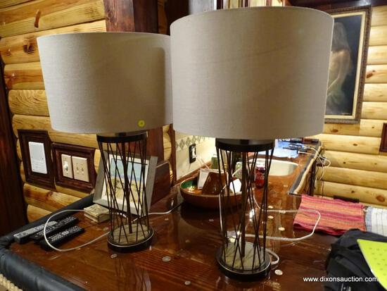(BDEN) PAIR OF DESIGNER METAL TABLE LAMPS; OPEN WOVEN WIRE DESIGN. EACH COMES WITH LINEN DRUM