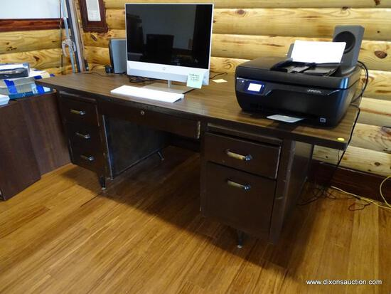 (BOFF) VINTAGE EXECUTIVE OFFICE DESK; WOOD GRAINED TOP, SIX DOVETAILED DRAWERS, SITS ON METAL