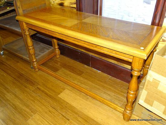 (BOFF) VINTAGE OAK HALL TABLE; RECTANGULAR BEVELED TOP WITH FOUR TURNED LEGS, BRACED ON THE FRONT