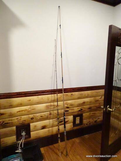 "(BOFF) LOT OF (2) VINTAGE FISHING RODS; VARMAC RS-3 8' 7"" SALTWATER ROD & CORK HANDLED 6' 9"" ROD."