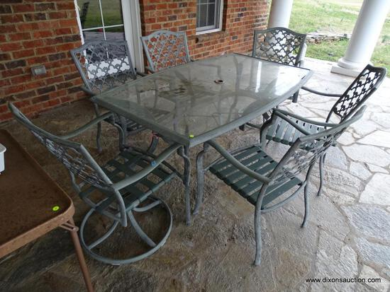(OUT) GLASS TOP PATIO TABLE AND CHAIRS; RECTANGULAR GLASS TOP AND RUSTIC PALE GREEN METAL PATIO