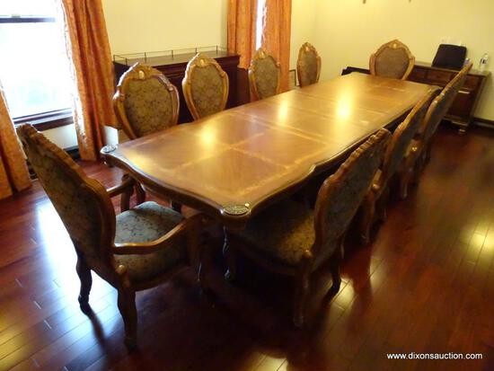 (DR) CUSTOM MADE CONTEMPORARY DINING TABLE & CHAIR SET; TABLE IS TWO TONED, SITS ON A DOUBLE