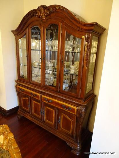 (DR) CUSTOM MADE 2 PC. CONTEMPORARY CHINA CABINET; CARVED SCROLL & LEAF DETAILED, ROPE DETAILING