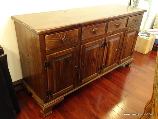 (DR) VINTAGE ETHAN ALLEN PINE BUFFET; HAS (4) UPPER DRAWERS (ONE WITH REMOVABLE DIVIDERS) & (4)