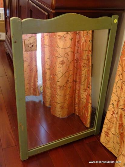 "(DR) ANTIQUE WOODEN WALL MIRROR; RECTANGULAR MIRROR IN A GREEN PAINTED WOOD FRAME. MEASURES 1' 11"" X"