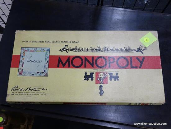 (WINDOW) VINTAGE PARKER BROTHERS' MONOPOLY GAME; MONOPOLY GAME WITH ORIGINAL INSTRUCTIONS AND GAME