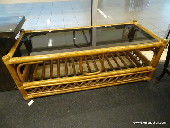 (WINDOW) COFFEE TABLE; GLASS TOP WOODEN COFFEE TABLE WITH RATTAN BOUND JOINTS AND LOWER SHELF