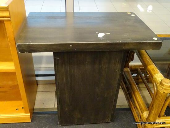 (WINDOW) RUSTIC SIDE TABLE; WOODEN RUSTIC STYLE SIDE TABLE WITH DARK FINISH, HAS LIGHT WEAR.