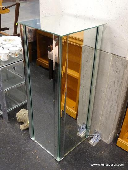 (WINDOW) MIRROR DISPLAY PEDESTAL; CAPTIVATING MIRROR PEDESTAL WITH SQUARE BASE. HAS BEVELED GLASS