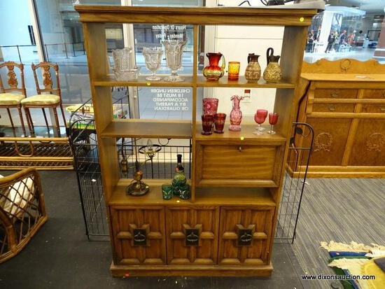 (R1) DISPLAY CABINET; BEAUTIFUL WOODEN DISPLAY CABINET WITH THREE TOP OPEN SHELVES SITTING ABOVE A