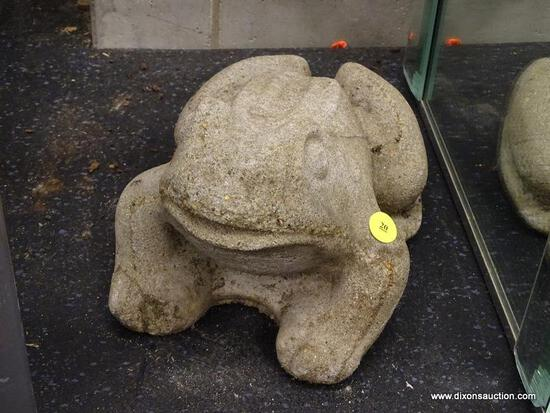 (WINDOW) FROG STATUE LAWN ORNAMENT; CEMENT LAWN ORNAMENT IN THE SHAPE OF A FROG. MEASURES 6 IN TALL.
