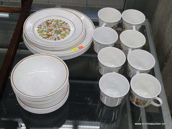 (WINDOW) SET OF CORELLE BY CORNING DISHWARE; 35 PIECE SET OF VITRELLE DISHWARE, WHITE IN COLOR.