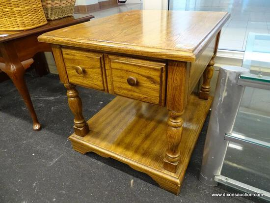 (WINDOW) HUNTLEY FURNITURE BY THOMASVILLE SIDE TABLE; WOODEN END TABLE WITH A SINGLE TOP DRAWER