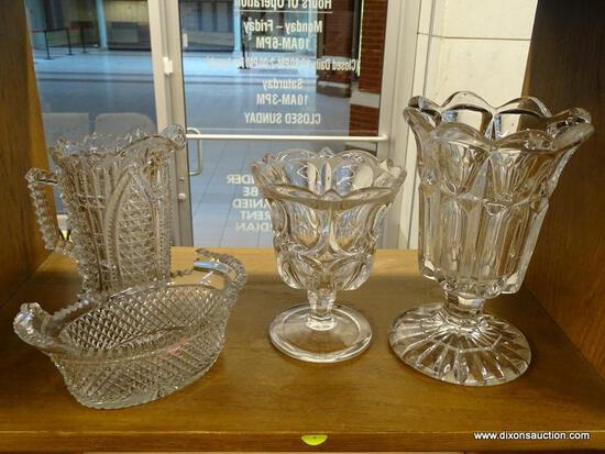(R1) LOT OF GLASSWARE; 4 PIECE LOT OF FACETED GLASSWARE TO INCLUDE A SMALL PITCHER, A BUTTER DISH,