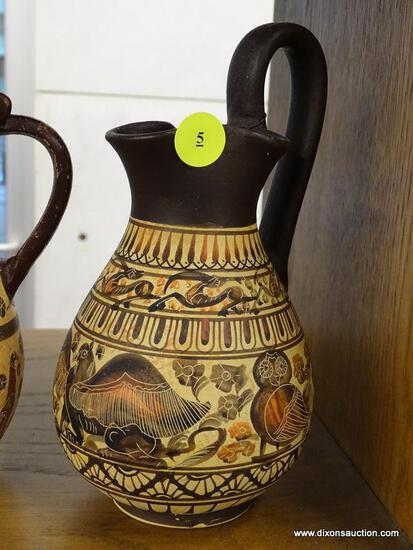 (R1) PAIR OF GREEK EARTHENWARE REPRODUCTIONS; TWO REPRODUCTIONS OF GREEK OLPES, ONE FROM 7TH CENTURY