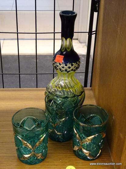 (R1) ROCK GLASS SET AND VASE; SET OF THREE FACETED GREEN ROCKS GLASSES WITH GOLD DETAILING AND A