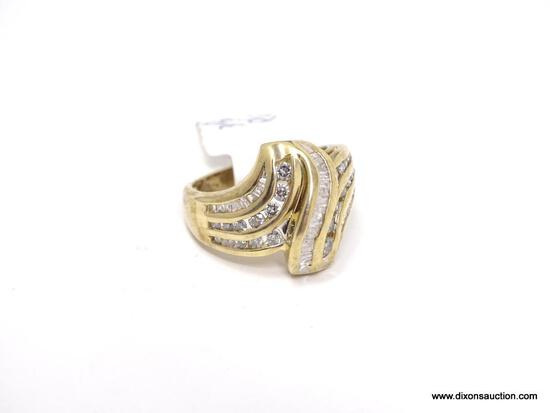 LADIES 14KT YELLOW GOLD & APPROX. 1.50CTW DIAMOND DINNER RING, RETAILS $ 2995.00. SIZE 7.5