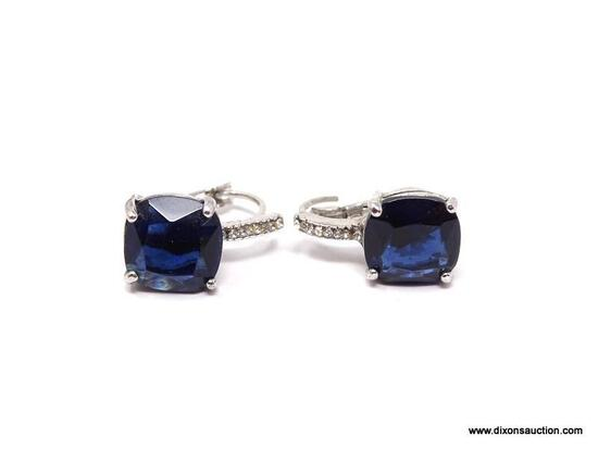 STERLING SILVER DIAMOND AND SAPPHIRE LADIES EARRINGS; STERLING SILVER LADIES EARRINGS WITH RADIANT