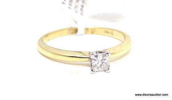 LADIES 14KT YELLOW GOLD & APPROX. .32 CTW PRINCESS CUT DIAMOND ENGAGEMENT RING, RETAILS $1995.00,