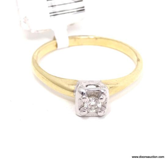 LADIES 14KT YELLOW GOLD & APPROX. .17 CTW ROUND DIAMOND ENGAGEMENT RING, RETAILS $ 899.00. SIZE 7.5