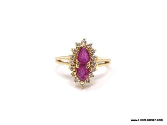 LADIES 14K RUBY AND DIAMOND RING; 14K YELLOW GOLD RING WITH MARQUISE CUT RUBY IN THE CENTER
