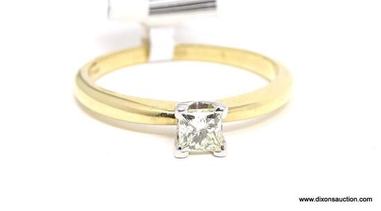 LADIES 14KT YELLOW GOLD & APPROX. .35 CTW PRINCESS CUT DIAMOND ENGAGEMENT RING, RETAILS $1795.00,