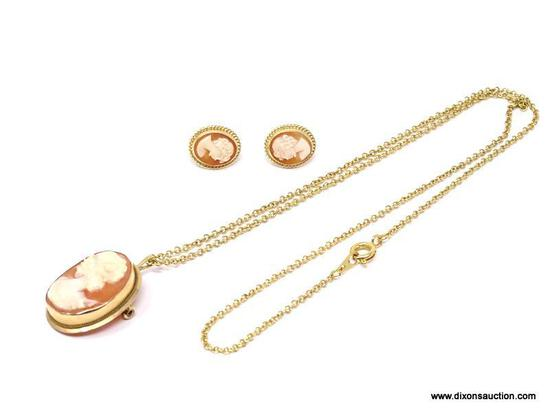 LADIES CARLA CAMEO SET; 14K YELLOW GOLD CAMEO PENDANT ON 18 IN CHAIN WITH MATCHING 14K GOLD CAMEO