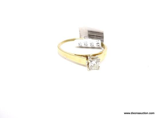 LADIES 14KT YELLOW GOLD & APPROX. .53 CTW PRINCESS CUT DIAMOND RING, RETAILS $2150.00. SIZE 8.