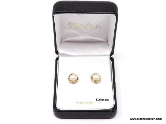 LADIES PEARL EARRINGS; 14K YELLOW GOLD AND PEARL LADIES EARRINGS.