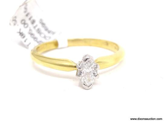 18KT YELLOW GOLD / PLATINUM & APPROX. .50 CTW MARQUISE CUT DIAMOND ENGAGEMENT RING, RETAILS