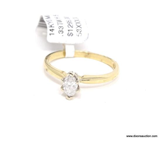 LADIES 14KT YELLOW GOLD & APPROX. .33 CTW MARQUISE CUT DIAMOND ENGAGEMENT RING, RETAILS $ 1295.00,