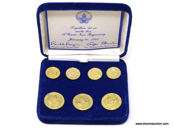 """SET OF 1981 RONALD REAGAN """"A GREAT NEW BEGINNING"""" GOLD TONE BLAZER BUTTONS. SET OF 7. COMES IN"""
