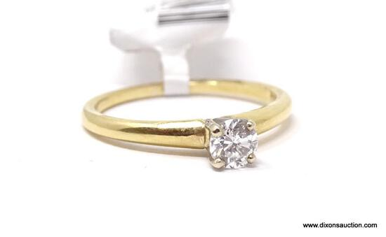 LADIES 14 KT YELLOW GOLD & APPROX. .38 CTW ROUND CUT DIAMOND RING, RETAILS $1900.00, SIZE 4.25