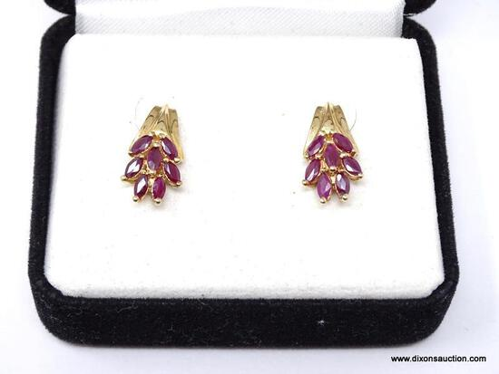 LADIES GOLD AND RUBY EARRINGS; BEAUTIFUL SET OF LADIES 14K YELLOW GOLD AND RUBY EARRINGS. COMES IN