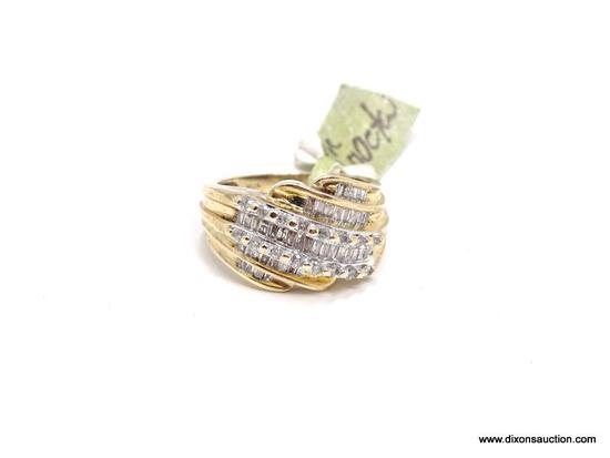 LADIES 10KT YELLOW GOLD & APPROX. 1.00CTW DIAMOND DINNER RING. RETAILS $1995.00. SIZE 7