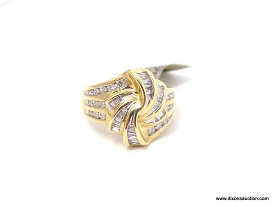 LADIES 10KT YELLOW GOLD & APPROX. 1.00CTW DIAMOND DINNER RING, RETAILS $1995.00. SIZE 7
