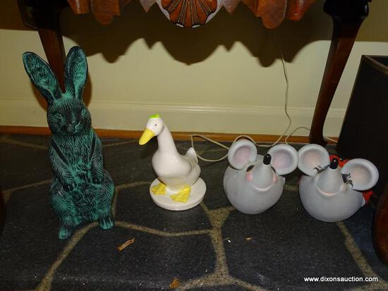 (FOYER) ANIMAL FIGURES; 4 CERAMIC ANIMAL FIGURES- 2 MICE- 7 IN, DUCK-8 IN AND A RABBIT- 13 IN