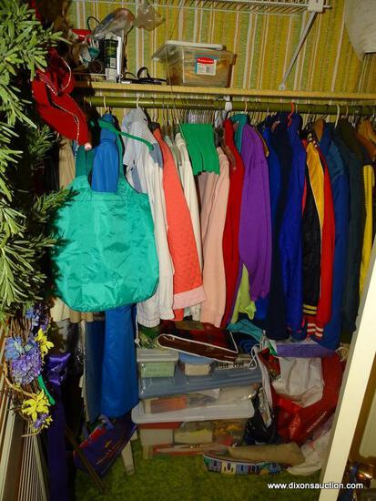 (FOYER) CONTENTS OF CLOSET; CONTENTS INCLUDE WOMEN'S COATS- SIZE-L AND MEN'S JACKETS SIZE-S AND ANY