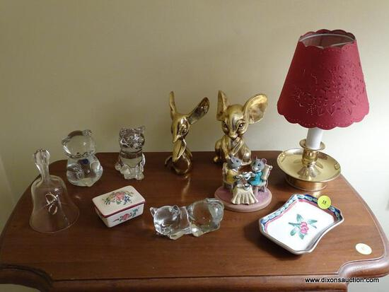 (LR) LOT OF ASSORTED KNICK KNACKS; 11 PIECE LOT OF ASSORTED KNICK KNACKS TO INCLUDE 3 METAL MICE, 3