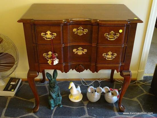 (FOYER) CHERRY LOWBOY; CHERRY QUEEN ANNE BLOCK FRONT LOWBOY WITH BRASS CHIPPENDALE PULLS, DOVETAIL