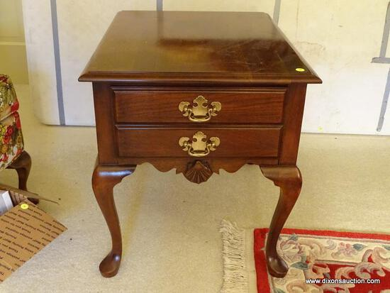 (LR) WELLS FURNITURE COMPANY QUEEN ANNE SIDE TABLE; 1 IN A PAIR OF CHERRY, SINGLE DRAWER, QUEEN ANNE