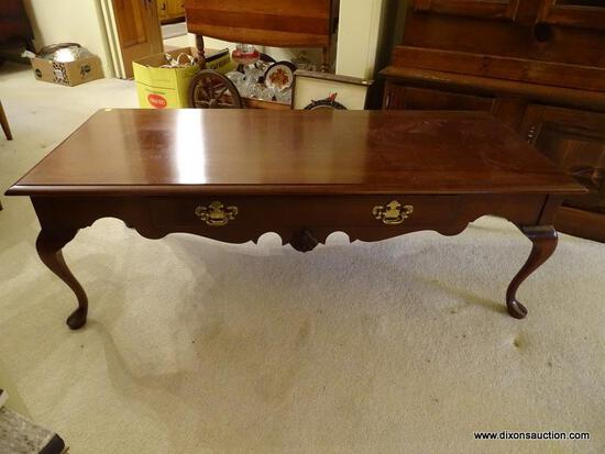 (LR) WELLS FURNITURE COMPANY QUEEN ANNE COFFEE TABLE; RECTANGULAR, SINGLE DRAWER, QUEEN ANNE COFFEE