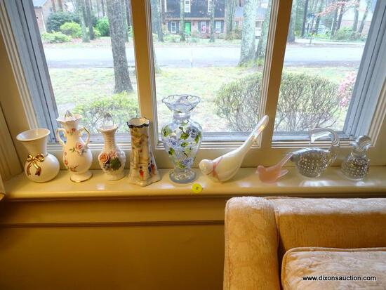 (LR) SHELF LOT OF KNICK KNACKS; LOT TO INCLUDE A GLASS DUCK AND SWAN WITH DECORATIVE AIR BUBBLES ON