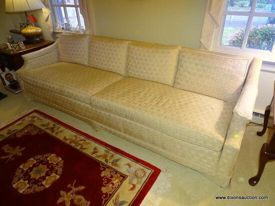 (LR) MANORCRAFT INC. 3-PERSON SOFA; TAN AND CREAM GEOMETRIC PATTERNED, 3-PERSON, 2-CUSHION SOFA.