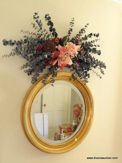 (LR) ROUND MIRROR AND ARTIFICIAL PLANT ARRANGEMENT; 2 PIECE LOT OF WALL DECORATIONS TO INCLUDE A