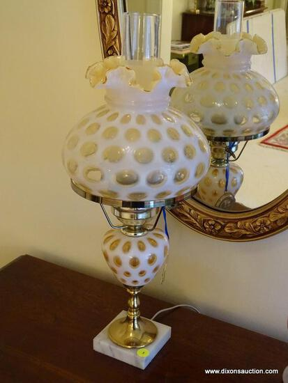 (FOYER) LAMP; FENTON THUMBPRINT OPALESCENT LAMP WITH MATCHING SHADE- 21 IN