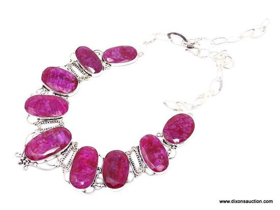 """AFRICAN RED RUBY NECKLACE; 18-22"""" GORGEOUS NEW NECKLACE WITH 9 LARGE FACETED AFRICAN RED RUBY"""
