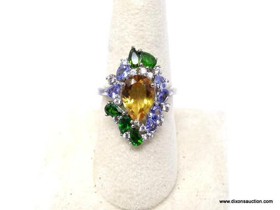 .925 LADIES RING; NEW .925 AAA TOP QUALITY GORGEOUS RING WITH MULTI-COLORED, FACETED GEMSTONES. SIZE