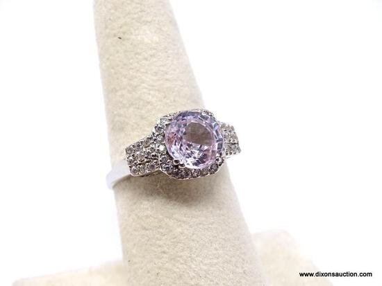.925 LADIES RING; NEW .925 AAA TOP QUALITY GORGEOUS LIGHT PINK KUNZITE RING WITH UNHEATED DIAMOND